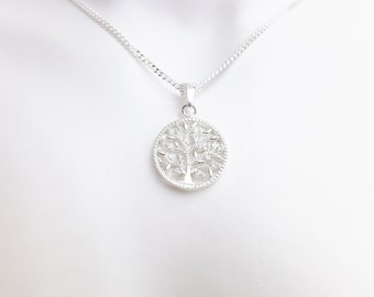 Sterling Silver Tree Of Life Circular Jewelled Pendant Necklace - Diamond Cut Sterling Silver Chain - Boho Jewellery