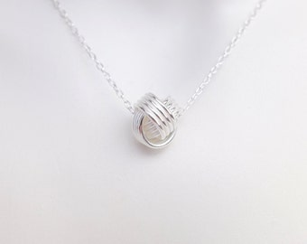 """Sterling Silver Knot Charm Pendant Necklace - 18"""" Sterling Silver Belcher Chain - Minimalist Jewellery"""