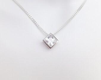 Sterling Silver Bezel Set Diamond Cubic Zirconia Pendant Necklace - Diamond Cut Sterling Silver Chain - Wedding Jewellery