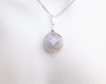 Botswana Agate Pendant Necklace - Grey - Diamond Cut Sterling Silver Chain - Semi Precious Stone - Gemstone Jewellery - One Off