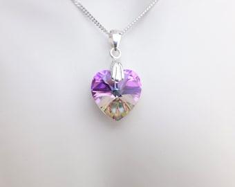 Swarovski Crystal Heart Pendant Necklace - Medium - Vitrail Light -  Sterling Silver Chain - Wedding Jewellery