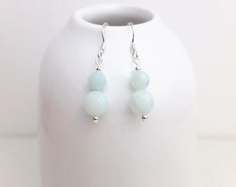Amazonite Drop Earrings - Sterling Silver 925 - Semi Precious Stone - Gemstone Jewellery