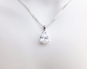 Sterling Silver Cubic Zirconia Pear Shaped Pendant Necklace - Small - Diamond Cut Sterling Silver Chain - Wedding Jewellery