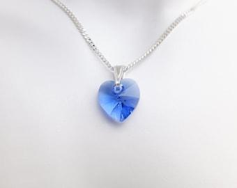 Swarovski Crystal Heart Pendant Necklace - Small - Sapphire  - Diamond Cut Sterling Silver Chain - Wedding Jewellery - September Birthstone
