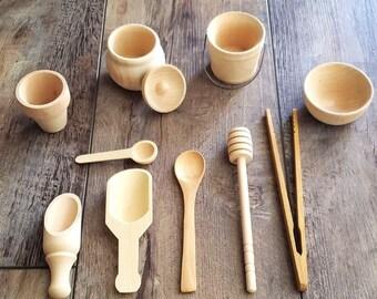 10 Piece Wooden Sensory Bin Tools-Montessori-Waldorf-Sensory Bin Accessories-Wooden Tools-Fine Motor Skills-Free Play-Sensory Play