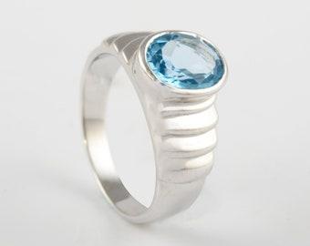 Natural Aquamarine  Ring Solid 925 Silver,Handmade,March Birthstone,Groomsmen Gift,Bridesmaid Gift,Gift For Him,Rare Gift,Wedding Gift