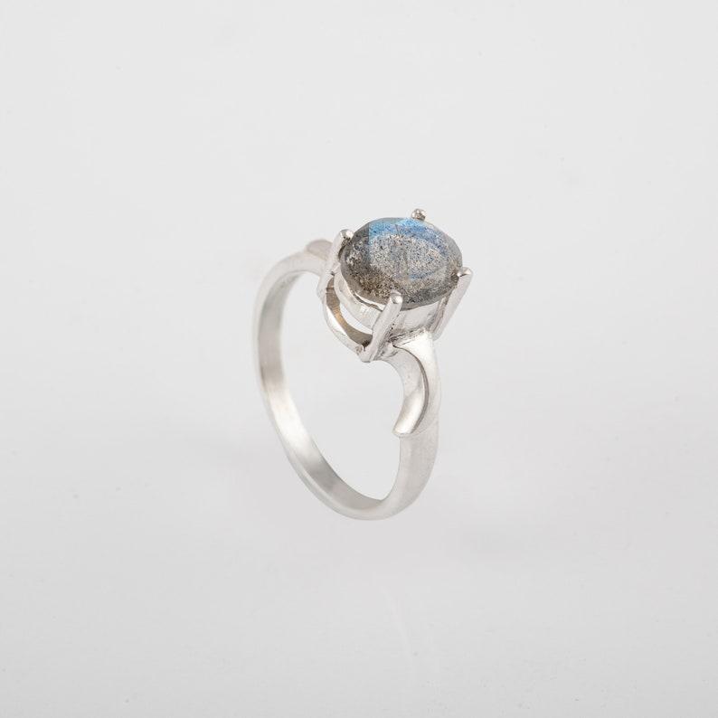Black Rainbow MoonStone Silver Ring Gemstone Ring Solid 925 Silver Ring Labradorite Ring February and March Birthstone Ring Handmade