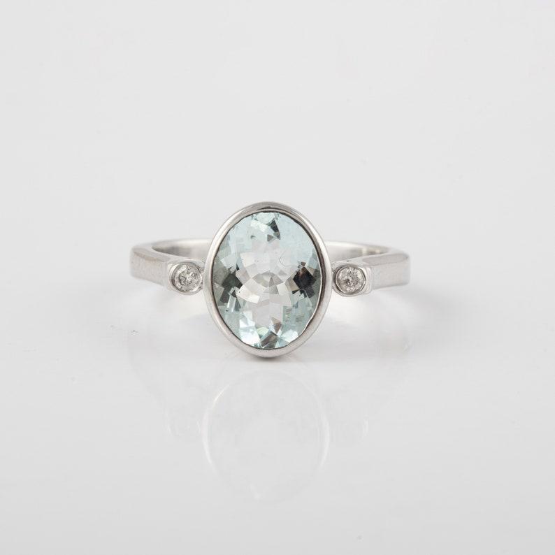 Solid 925 Silver,Handmade,March and April Birthstone,Groomsmen Gift,Bridesmaid Gift,Rare Gift,Wedding Natural Aquamarine /& Diamond Ring
