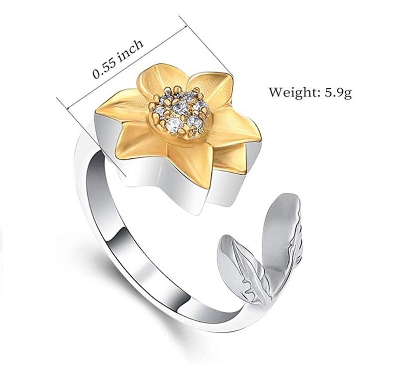 Bereavement Jewelry Sunflower Cremation Memorial Keepsake Urn Ring Funeral Cremation Ash Ring