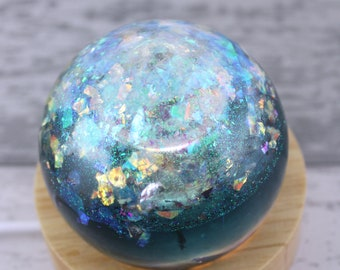 Reflections Effect Waterblue Sphere Cremation Urn, Memorial Ashes Keepsake Mini Urn, Resin Urn, Cremation Urn Lamp