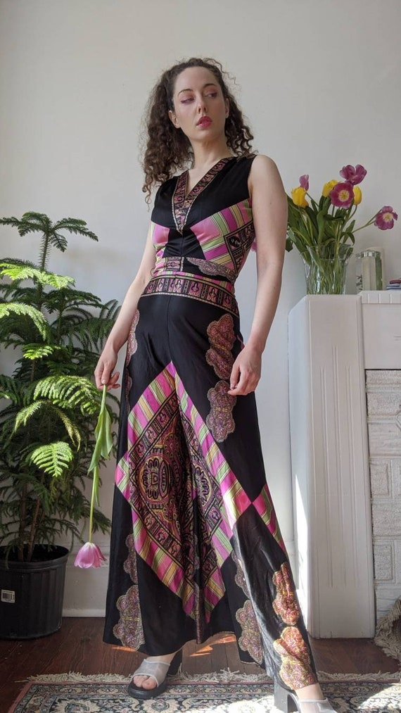 Incredible 1970s Psychedelic Wide Leg Jumpsuit
