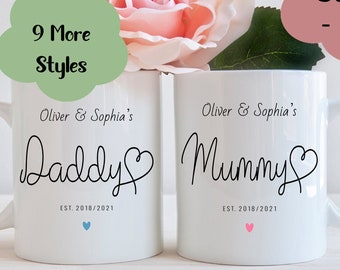 Mummy and Daddy Child's Name Mugs, Father's day gift, Baby shower gift,  Mummy daddy mugs, Mummy daddy gift, new parents gift