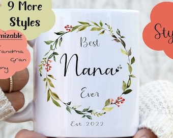 Best Nana Personalised Leaf Wreath with Berry Mug, Nana Mug, Nanny mug, Nanna Mug, Gift for Nana and Nanny, Christmas gift, Birthday gift