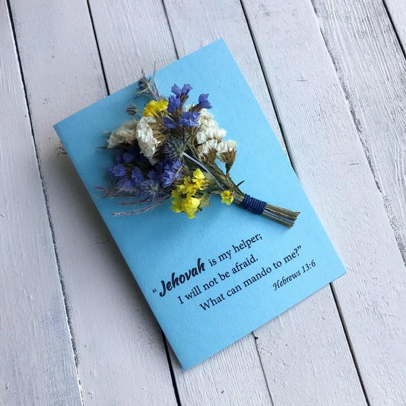 Encouragement JW Card Hebrews 13:6 3D Dried Flower Pioneer Gift Jehova\u2019s Witnesses gift Baptism Convention gift gift for women men kids