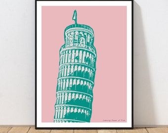 PIZZA ITALI PISA  Wall Art Poster Grand format A0 Large Print