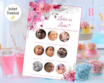 Pink Floral Baby Shower Baby Shower Game Printable Baby Shower Game Baby Shower Instant Download Pacifier Hunt PF2 Baby Girl Shower