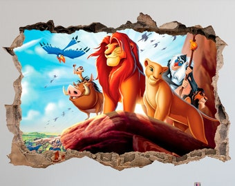 Lion King,Sticker,Kids,3d,Wall Art,Bedroom,Children/'s,Decal,Mural
