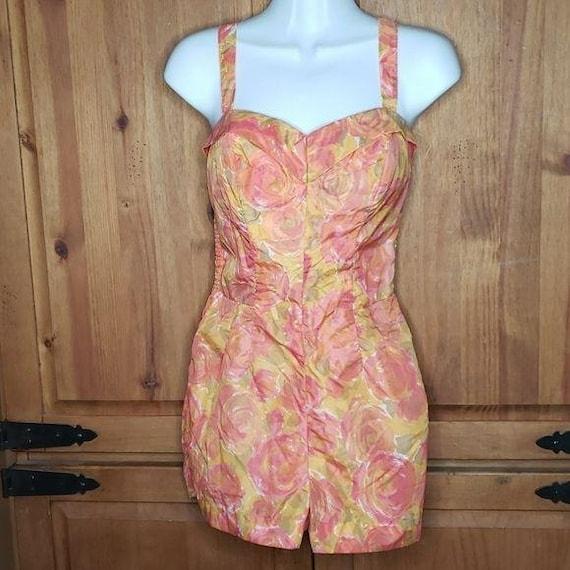 50's Vintage Floral Romper Swimsuit - image 1
