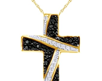 Cyber Monday Round Cut Black /& White DVVS1 Simulated Diamond Cross Pendant Necklace Solid Solid 18K Yellow Gold Plated Sterling Silver