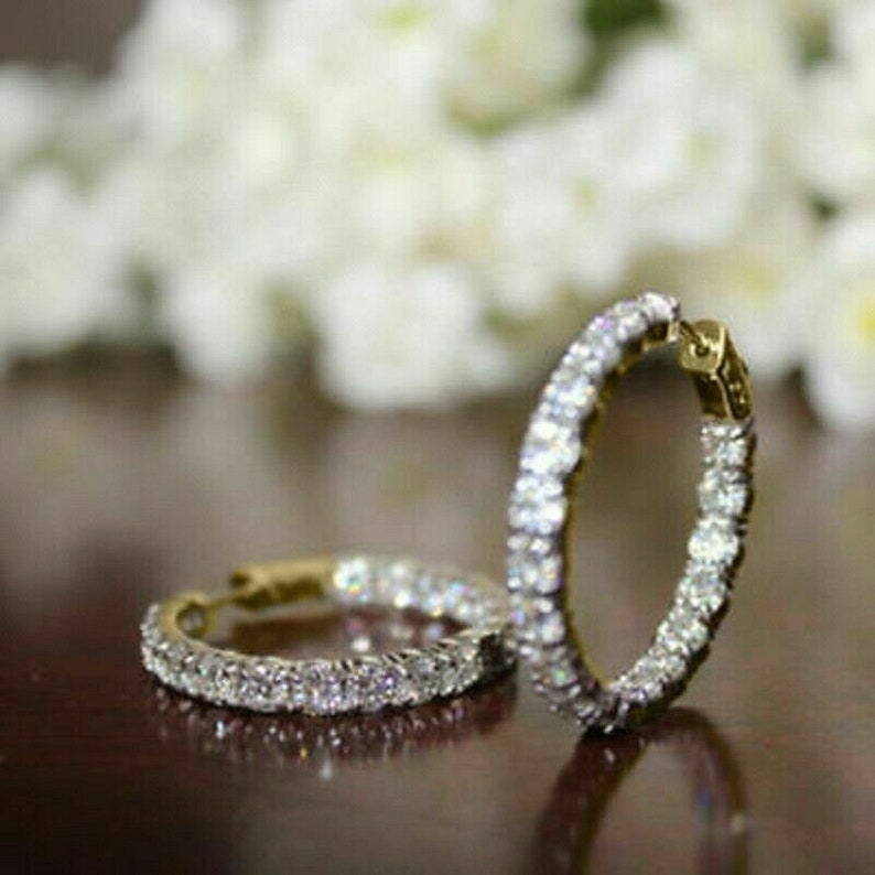 2.00 CT Round Cut Simulated Diamond 14K Yellow Gold Finish 925 Sterling Silver Hoop Earrings For Women/'s