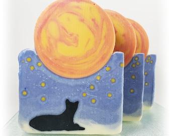 Moon Cat Sculpted Soap Artisan Handmade Vegan With Organic Coconut Oil Olive Oil Palm Oil Sea Salt Natural Moisturizing Calming