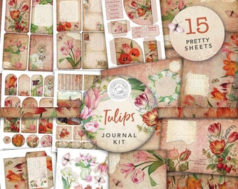 Vintage Tulips Junk Journal Printable Kit: Digital Download, Tulip, Flower, Backing Papers, Postcards, Envelopes, Pockets, Tags, Ephemera,A4