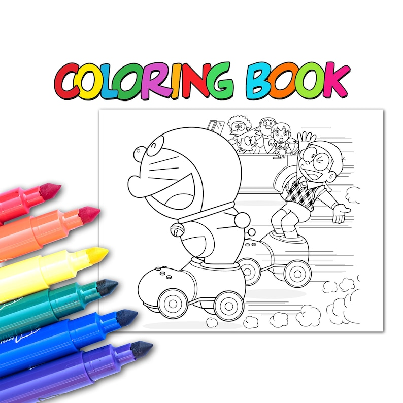 22 Doraemon Coloring Pages For Kids Instant Download   Etsy