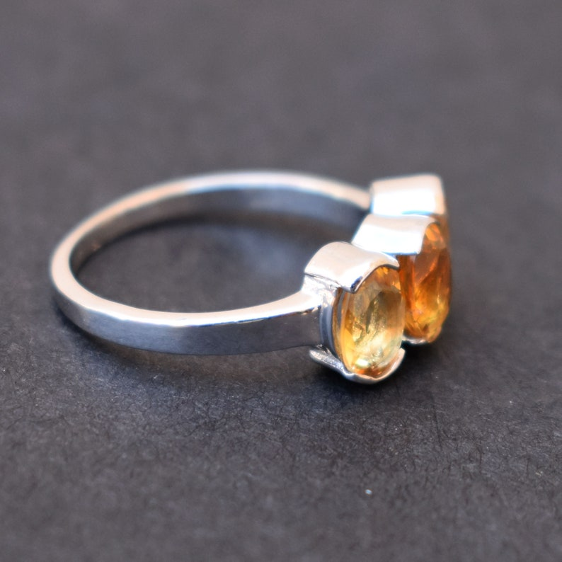 Oval Ring Three Stone Ring Stone Ring Gift Cut Stone Ring Citrine Ring 925 sterling Silver Everyday Ring November Birthstone Ring
