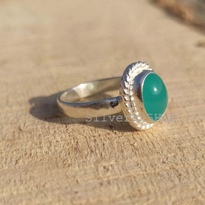 Aqua Chalcedony Ring Oval Ring,Handamde Ring Gemstone Ring Ring for Her Mother Day Gift Chalcedony Jewelry Chalcedony Ring Women Ring