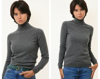 80s Vintage 100% Cashmere Grey Turtleneck Oldschool Knitwear Sweater Oversized Pullover Jumper Girlfriend Gift 3291 Size M Medium