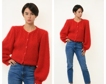 80s Vintage Angora Mohair Wool Red Buttons Oldschool Knitwear Sweater Oversized Pullover Jumper Girlfriend Gift 3310 Size M Medium