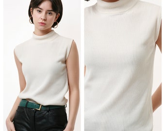 80s Vintage White 100/% SILK Natural Fabric Sleeveless Ribbed Turtleneck Jumper Top Pullover 2219