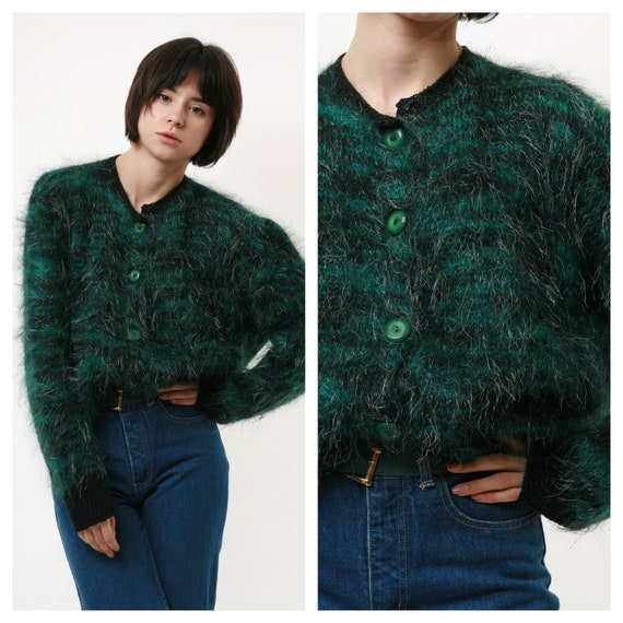 80s Vintage Fluffy Oversized Mohair Cardigan Butto