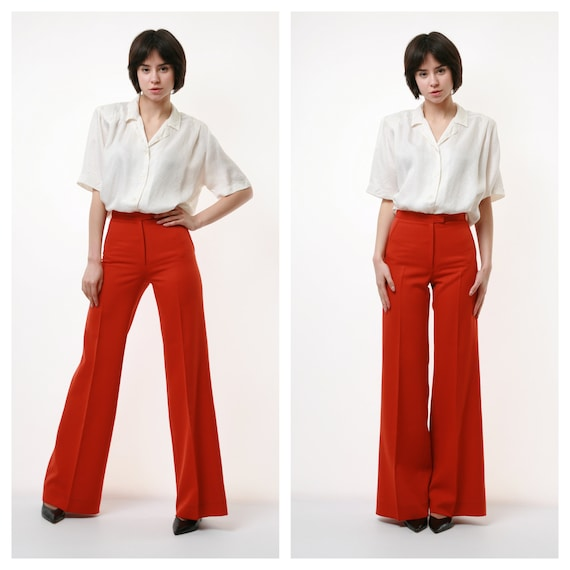 70s Vintage Wool High Waisted Flare Pants Trousers