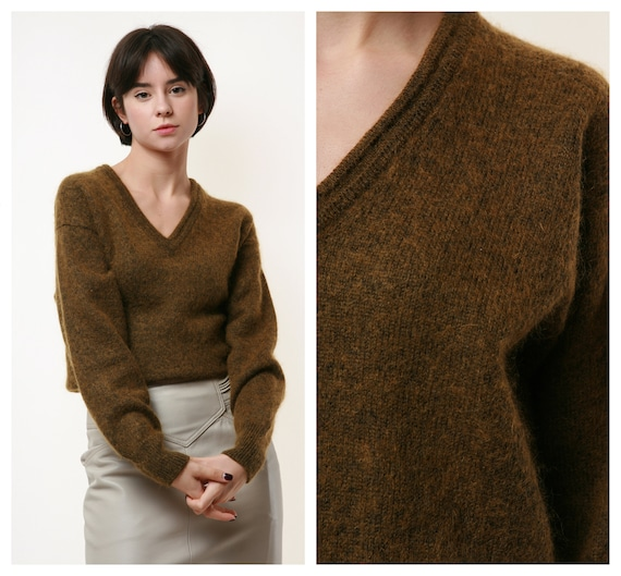 80s Vintage Burberrys Wool Mohair Green Jumper Swe