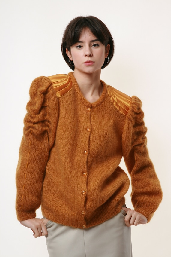 80s Vintage Mohair Dark Yellow Buttons up Jumper … - image 2