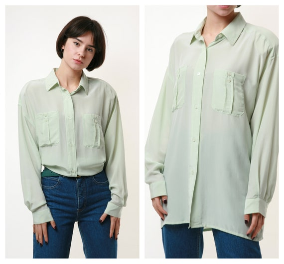 Vintage Raw Silk Blouse Shirt Classical Style 1990s for Women Size M UK 14 Natural Silk 100 /% Retro Fashion Eco Style