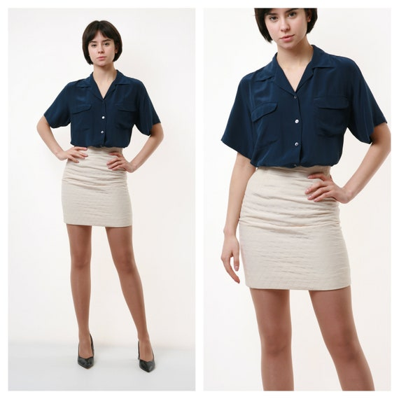 80s Vintage Mini High Quilted Waisted Pencil Skirt
