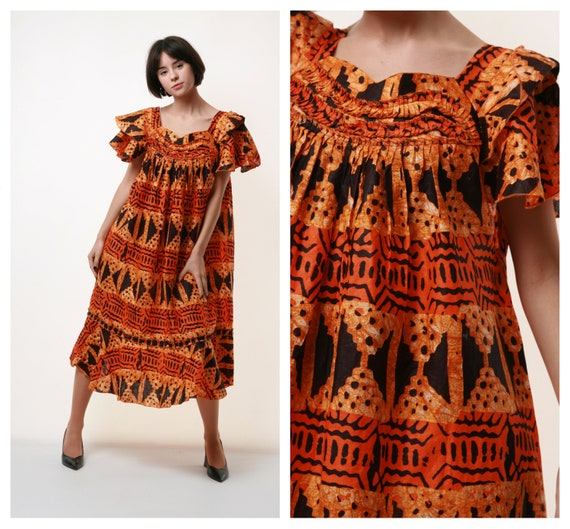 70s Vintage Vtg Boho Incredible African Cotton Fre