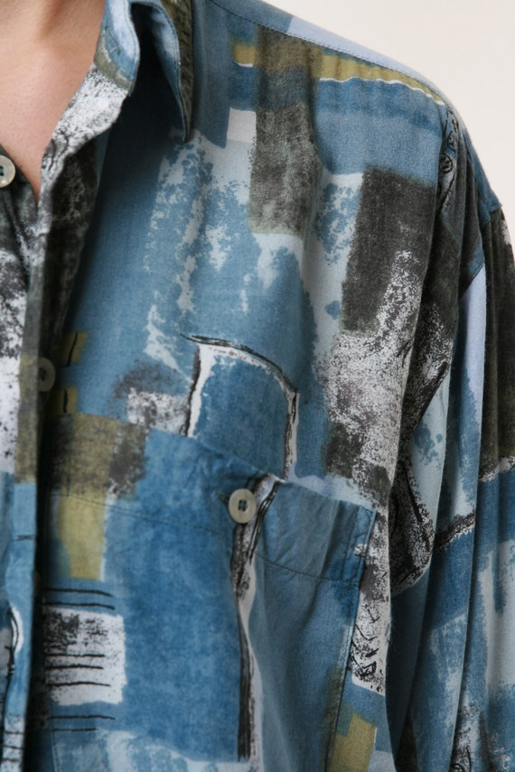 HAPPY LIFE Vintage Abstract Pattern Mens Shirt 17… - image 7