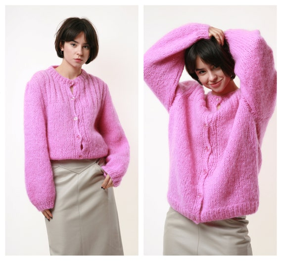 80s Vintage Wool Mohair Fuzzy Knit Partry Overisze