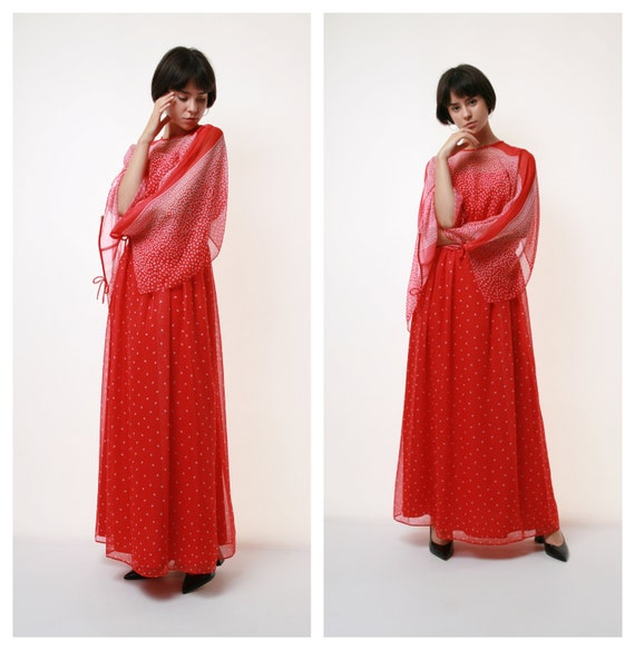 80s Vintage Red Maxi Long Dress Boho Style 2110