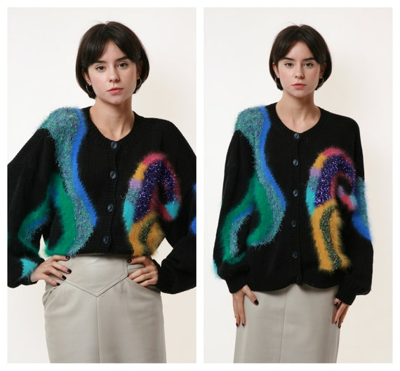 80s Vintage Wool Mohair Partry Overiszed Jumper Sw