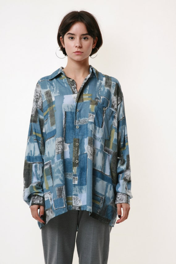 HAPPY LIFE Vintage Abstract Pattern Mens Shirt 17… - image 2