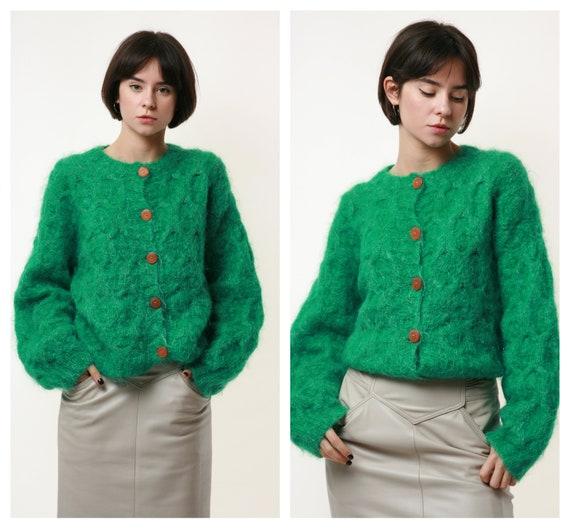 80s Vintage Deep Green Mohair Angora Wool Jumper S