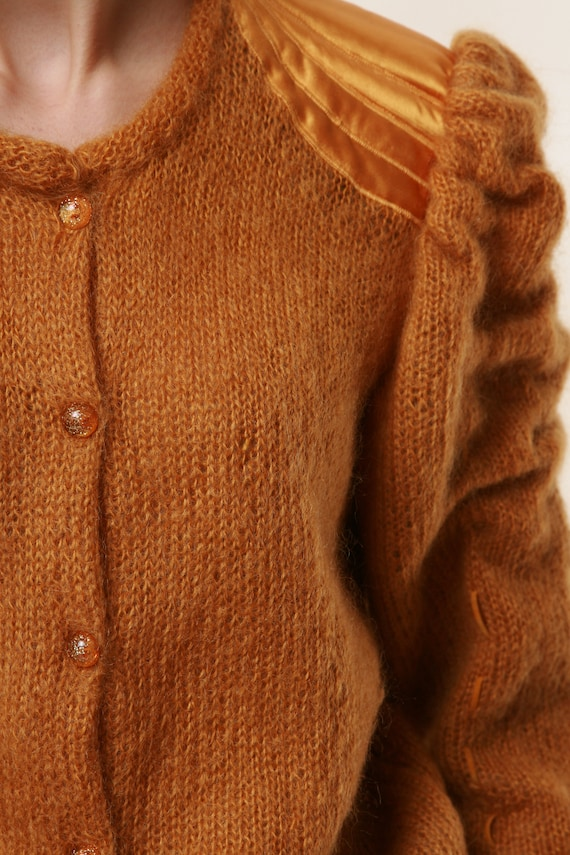 80s Vintage Mohair Dark Yellow Buttons up Jumper … - image 6