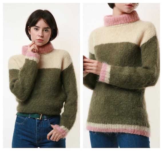90s Vintage Wool Mohair Turtleneck Striped Jumper