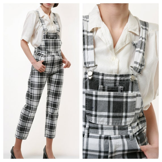 90s Vintage Check Checkered Dungaree 2189