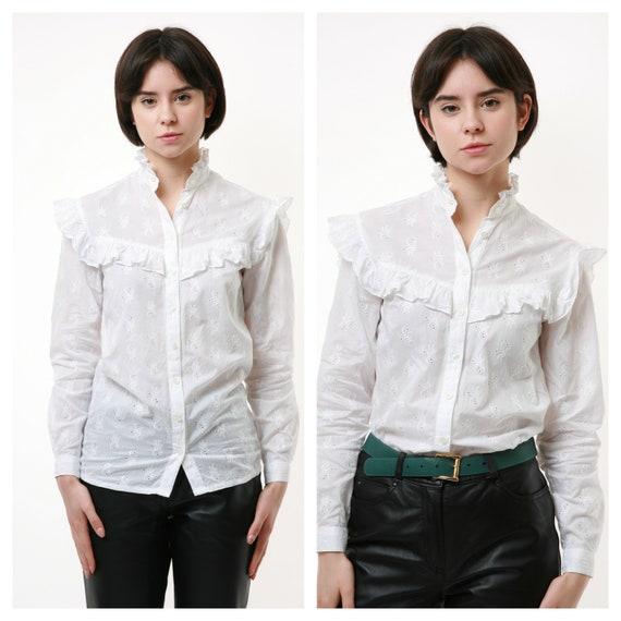 70s Vintage Viktorian Cotton White Buttons Up Shir