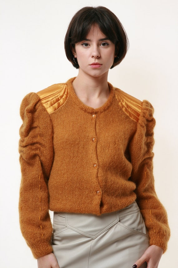 80s Vintage Mohair Dark Yellow Buttons up Jumper … - image 8